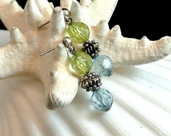 Green and Blue Earrings Vintage Dangle Bead Earrings Green and Blue Beads 1970 Bead Earrings
