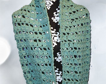 Crocheted Loop Scarf, Neck Warmer, Cowl, Shoulder Wrap, Sea Foam