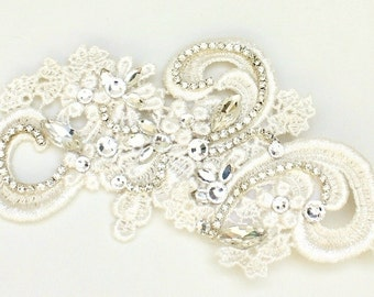 Ivory Bridal Hair Comb-Lace and Rhinestone Bridal Comb- Bridal Hair Accessories- Lace Bridal Comb-Rhinestone Hairpiece-Lace Hair accessory