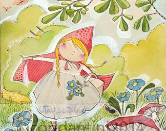 Little Red Riding Hood art print, nursery artwork, Cori Dantini for Blend fabrics, Little Red Collection, Archival Limited edition
