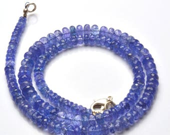 Natural Gem 17 Inch Strand Super Finest, Super Rare,Ultimate quality  TANZANITE Necklace Faceted Roundels Beads  4.5 TO 7 MM size,