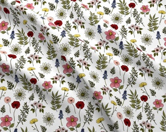 Floral Fabric - Botanicals Red By Mintpeony - Floral Botanical Wildflowers Floral Cotton Fabric By The Yard With Spoonflower