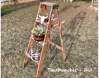 Large Wooden Step Ladder - Wooden Ladder - Rustic Ladder - Wood Ladder - Plant Stand -  Ladder Shelf - Shoppe Display - Large Ladder