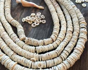 Ostrich Egg : Natural Cream White Ostrich Egg Shell Beads, 25 beads, Heishi Disc Beads from Kenya, 8-12x1.5mm / African Beads, Bone Beads