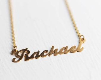 Rachael Name Necklace, Rachael Name Jewelry, Name Necklace Gold, Rachael Gold Jewelry, Retro Name Necklace