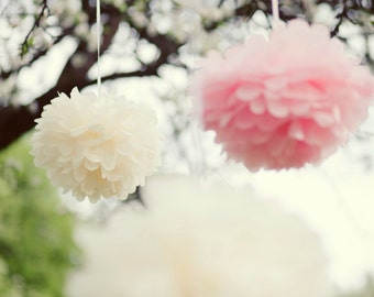 25 mixed size Tissue paper POM POMS - wedding party decorations - pick your colors from 77 - very fluffy - best quality - lanterns - flowers