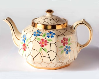 Gibson Tea Pot 1950's Vintage Gibsons & Sons Teapot Hand-Painted Flowers and Rich Gilding on a Cream Ground Octangonal Teapot