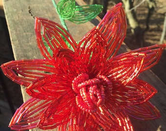 Red Lotus Like French Beaded Flower