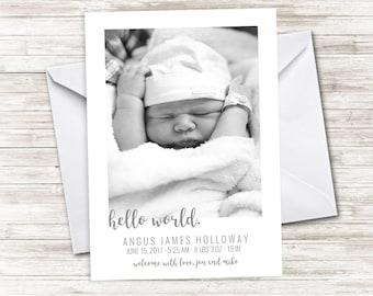 Birth Announcement Digital Photo 5x7 Grayscale Black and White Simple Newborn Picture Card