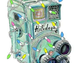 Retro Vintage Camera Christmas Card - Illustration Fairy lights Mansfield