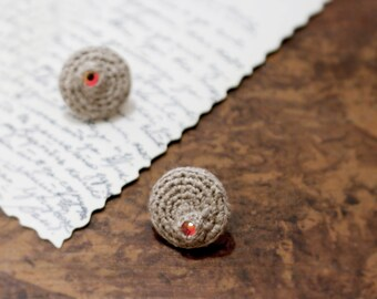 Linen Crochet Studs, Flat Round Stud Earrings with Fireopal Swarovski Crystals