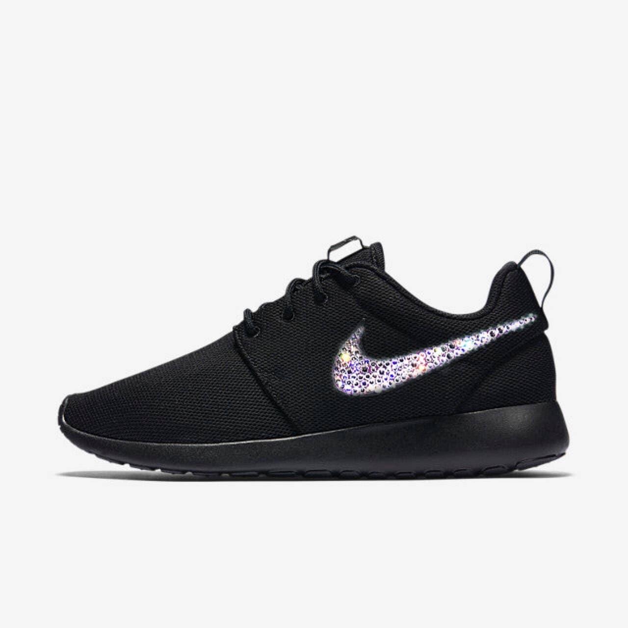 4dffa07a40d05b Nike Roshe un Bling chaussures en cristal de chaussures de course noir  Swarovski cristaux femmes
