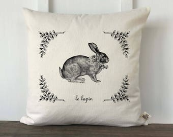 Farmhouse Easter Pillow Cover, Vintage French Pillow, Easter Bunny Pillow, Spring Pillow, Easter Pillow, Decorative Pillow, Le Lapin