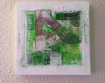 """Square Abstract Painting Green White Mixed Media 6""""x 6"""""""