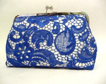 Blue Lace Clutch, Bridal Clutch with Lace Overlay, 8 Inch Frame, Blue Wedding Purse, Something Blue Bridal Clutch