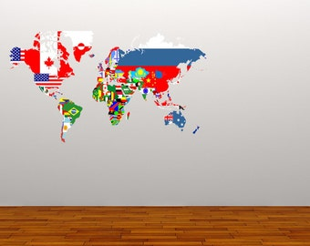 Full Colour Decal World Map Flags Wall Sticker Globe Office Educational Countries