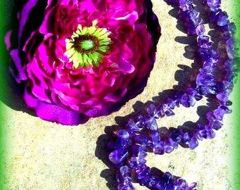 Amethyst necklace, gemstone amethyst, 18 inch Amethyst strand, boho, tribal, crystal necklaces, zen jewelry