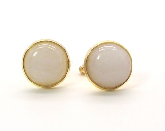 Snow Ball Cufflinks featuring White Jade – White Cufflinks - White Jade Cufflinks