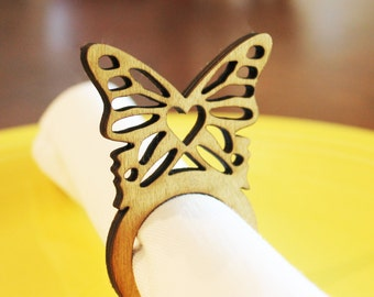 Butterfly Wood Napkin Rings, Butterfly party, Tea Party, Bridal shower, Laser Cut Set of 4, 8, 12