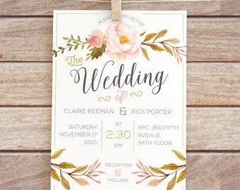 Printable Floral Wedding Invitation    Floral Wedding Invitation   Printable   Digital File  