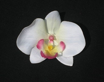 Pink Tipped Orchid Flower Hair Clip Retro Glam Wedding Prom Rockabilly - Buy 3 Items, Get 1 Free