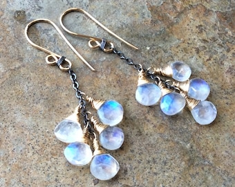 MOONSTONE Earrings, mixed metals, sterling silver and 14k gold filled, cluster earrings, wedding earrings, bridal jewelry, artisan earrings