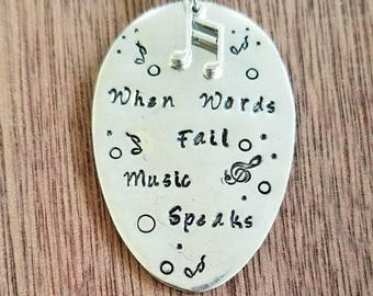 Stamped Spoon Necklace.  When Words Fail Music Speaks