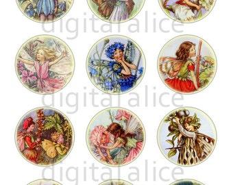 Vintage FLOWER FAIRIES Craft Circles - Victorian Fairies- Instant Download Digital Printable Bottlecaps Cupcakes Collage Sheet