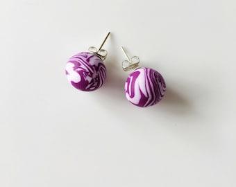 Purple Chunky Earrings, Round Earrings, Geometric Earrings, Minimalist Earrings, Polymer Clay, Stud Earrings, Boho Earrings, Round Studs