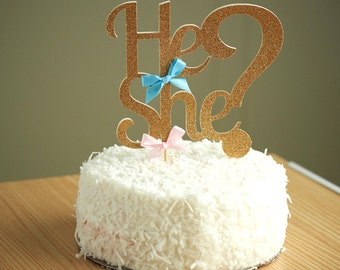 Gender Reveal Party Decor.  Handcrafted in 2-5 Business Days.  He or She Cake Topper.