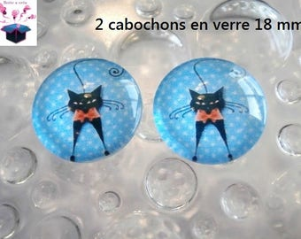 2 glass cabochons domed 18mm turquoise cat theme