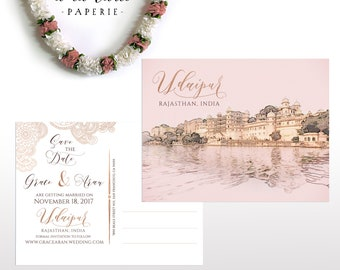 Udaipur Rajasthan India Illustrated Save the date postcard invitation destination wedding save the date rose gold and copper Deposit Payment