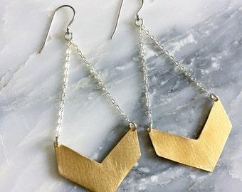 Chevron earrings - chevron jewelry - gold geometric dangle earrings