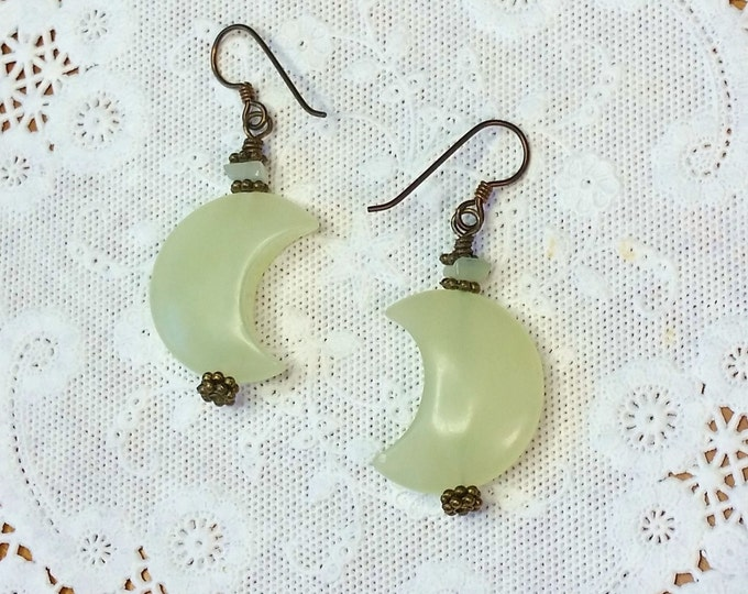 Pale Green Aventurine Moons Earrings With Antique Brass Niobium Hypoallergenic Ear Wire