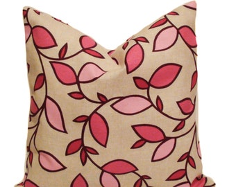 Pink pillow cover, 18x18, Leaf pillow, Throw pillow, Decorative pillows for couch, Sofa cushions, Accent pillow, Sale pillow, Clearance