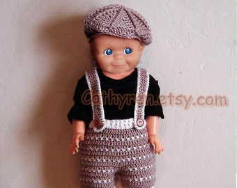 Baby Golf Hat,Shorts/Diaper Cover Set, with Suspenders, Buttons at Legs for Easy Change- INSTANT DOWNLOAD Crochet Pattern