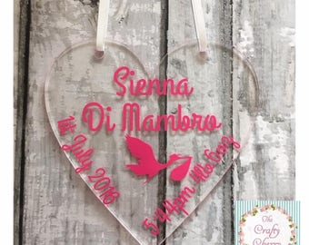 Newborn Hanging Heart, Newborn gift, new baby gift, Christening gift