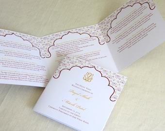 Ganesh Hindu Wedding Programs - Indian Trifold - Folded Ceremony Program - Custom Colors