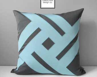 Grey & Aqua Blue Outdoor Pillow Cover, Modern Pillow Cover, Decorative Gray Throw Pillow Cover, Glacier Sunbrella Cushion Cover, Mazizmuse