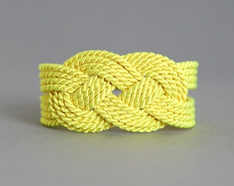 Lemon Yellow Bracelet, Rope Knot Bracelet, Yellow Bracelet, Nautical Bracelet, Nautical Jewelry, Sailor Knot Bracelet, Rope Bracelet, Lemon