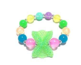 Toddler or Girls Small Beaded Neon Green Bow Bracelet - Bright Neon Beaded Bracelet - Neon Pink, Neon Blue, Neon Orange Bracelet - Summer