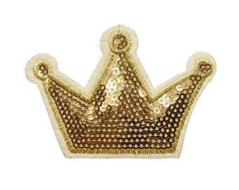 Gold Crown Sequined Patch Applique Iron on Patch