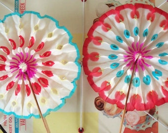 Vintage Party Favor Decorations / Colorful Tissue Paper Rosette Fans / Set of Two / Made in Japan