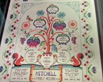 Family Tree Sampler Counted Cross Stitch KIT 11x13.75 Embroider Floss Directions Cloth Included Housewarming Gift Hostess DIY New Unused