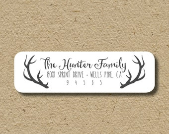 Antlers return address stickers, self-adhesive -  address labels for hunters - hunting address stickers - deer antlers - custom labels