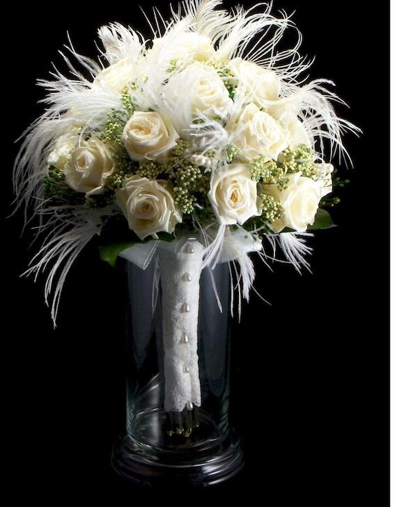 Bridal White Rose Wispy Bridal Bouquet