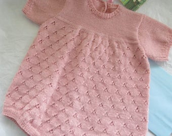 Hand Knit Baby Romper Girl Size 6M to 9M Vintage Style Pink Lace