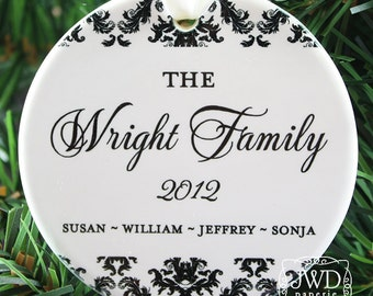 Personalized Family Christmas Ornament Family Christmas Gift Idea Personalized Ceramic Ornament with Family Name - Dainty Damask Item#OR1727