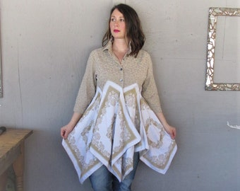 upcycled clothing linen tunic coat duster spring fashion Boho Bohemian L overcoat reclaimed recycled Gypsy Lagenlook LillieNoraDryGoods