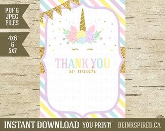 Unicorn Thank You, Thank You Note, Thank You Card, Printable, Blank, Gold Glitter, Unicorn Invitation, Rainbow, KADENCE, INSTANT DOWNLOAD